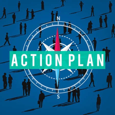 plan de accion: Acci�n Planificaci�n Plan de Negocios Concepto futuro Foto de archivo