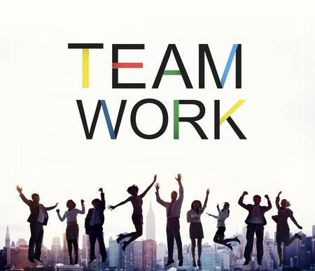 building work: Teamwork Team Union United Cooperation Alliance Concept