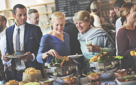 family and friends: Food Buffet Catering Dining Eating Party Sharing Concept Stock Photo