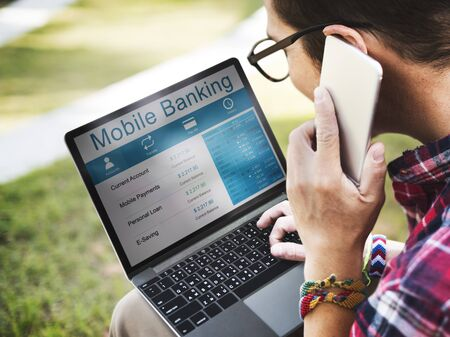mobile banking: Woman Connection Mobile Banking Data Concept