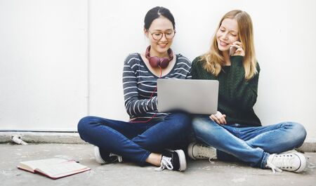 Friends Browsing Social Networking Online Technology Concept