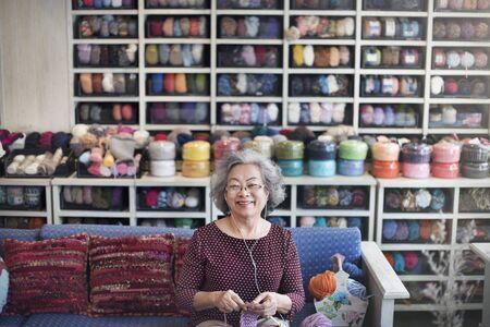 hobby: Hobby Crochet Senior Adult Hobby Handicraft Concept Stock Photo