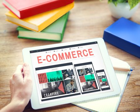 ebusiness: E-Commerce E-Business Internet Technology Conect Concept Stock Photo