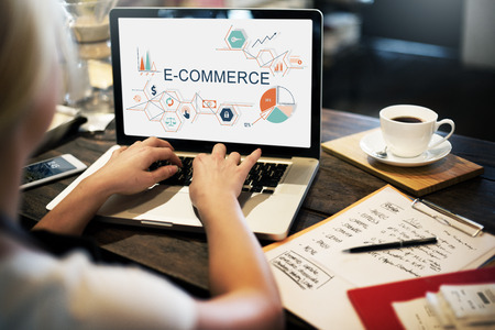 global security: E-commerce Global Business Digital Marketing Concept Stock Photo