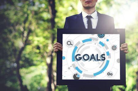 environmental suit: Goals Mission Target Hud Aspiration Concept Stock Photo