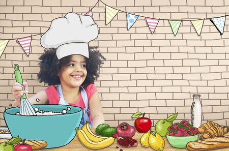 learning to cook: Children Kids Cooking Kitchen Fun Concept Stock Photo