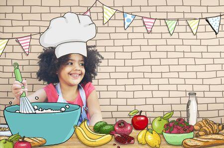 mixed race children: Children Kids Cooking Kitchen Fun Concept Stock Photo