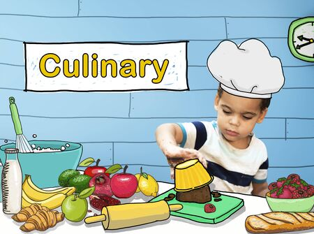 kneading: Cooking Culinary Gourmet Baking Healthy Children Hobby Concept Stock Photo