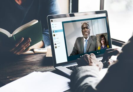 online conference: Video Call Conference Chatting Communication Concept Stock Photo