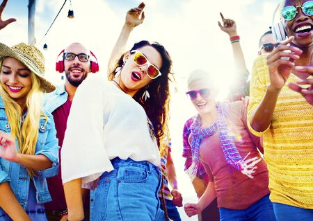 drunk woman: Friendship Dancing Bonding Beach Happiness Joyful Concept