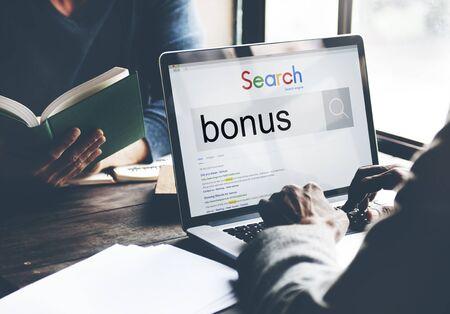 Bonus Extra Benefit Incentive Reward Money Finance Concept Stock Photo
