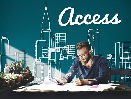 urban planning: Access Control Entry Password Account Concept Stock Photo