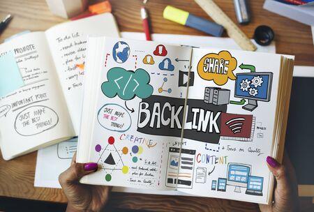 backlink: Backlink Hyperlink Internet Connection Online Network Concept