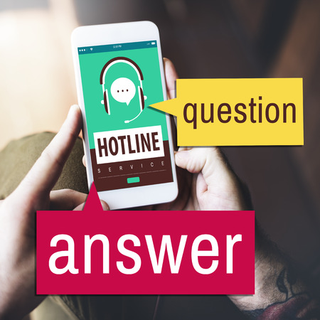 Phone with hotline question and answer concept Stok Fotoğraf