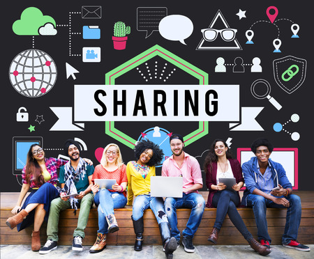 sharing: Sharing Social Media Technology Innovation Concept