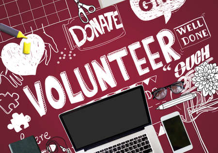 charity and relief work: Volunteer Donate Give Helping Hand Concept