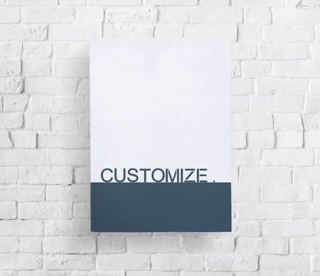 White board with customize word on stone wall Stock Photo
