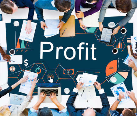 earnings: Profit Benefit Revenue Earnings Gain Gross Income Concept
