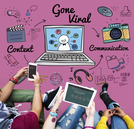 gone: Gone Viral Cyber MultiMedia Internet Technology Concept Stock Photo
