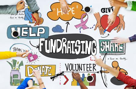 Collecte de fonds Fonds d'aide Capital conseils Concept Banque d'images