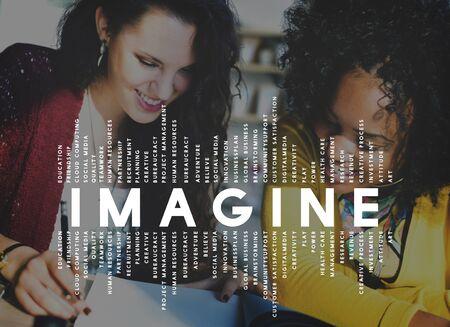 women friendship: Imagine Imagination Vision Creative Dream Ideas Concept Stock Photo