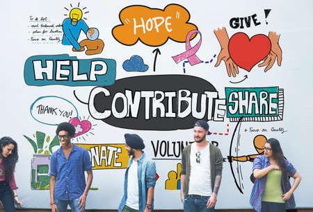 Contribuir Colaboración Corporativa Concepto Contribución Apoyo