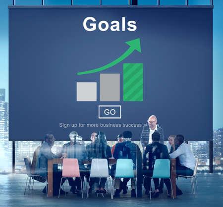 man business oriented: Goals Aspiration Dreams Believe Aim Target Concept