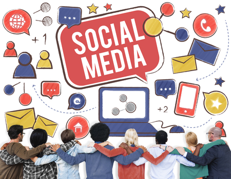 huddle: Social Media Connection Global Communication Concept Stock Photo