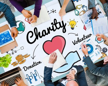 charitable: Charity Donate Welfare Generosity Charitable Giving Concept