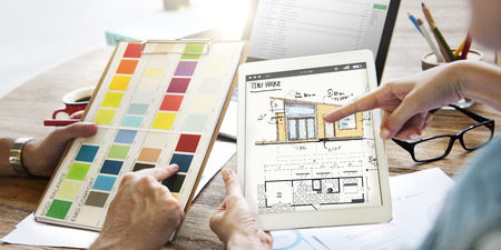 People with house renovation planning Stock Photo