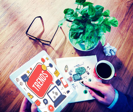 working place: Trends Social Media Update Online Internet Concept