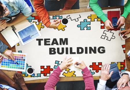 corporate building: Team Building Collaboration Connection Corporate Teamwork Concept