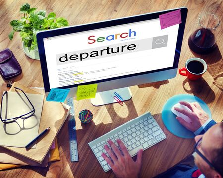 depart: Departure Departing Depart Going Leaving Travel Concept Stock Photo