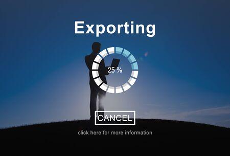 man using computer: Exporting Files Progress Bar Concept Stock Photo