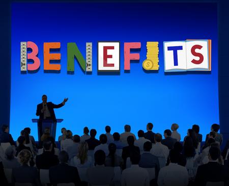 public welfare: Benefits Advantage Assests Bonus Wages Concept
