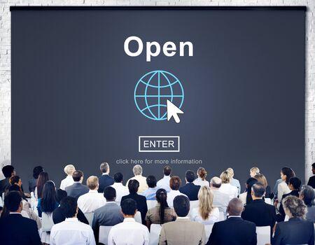 extensive: Open Opening Homepage Website Browsing Concept Stock Photo