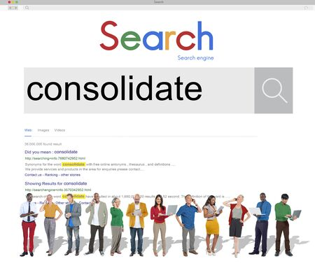 consolidate: Consolidate Merge Integrate Banking Corporation Concept Stock Photo