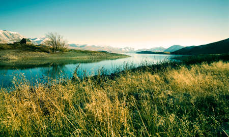 rural area: Small Cottage Rural Area View Mountain Lake Concept