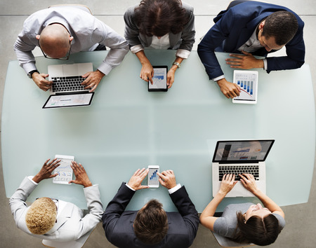 Business People Diverse Electronic Devices Concept