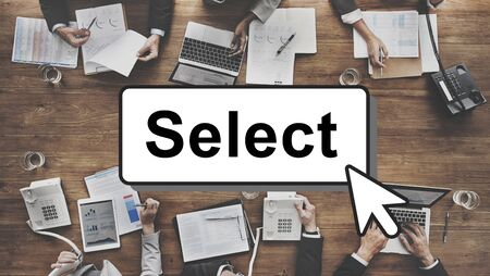 compare: Select Pick Selecting Compare Selection Targeting Concept Stock Photo