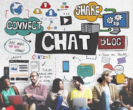 チャット通信社会ネットワーク接続の概念