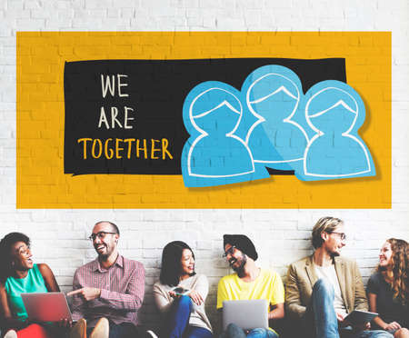 we: We Are Together Teamwork Illustration Concept Stock Photo