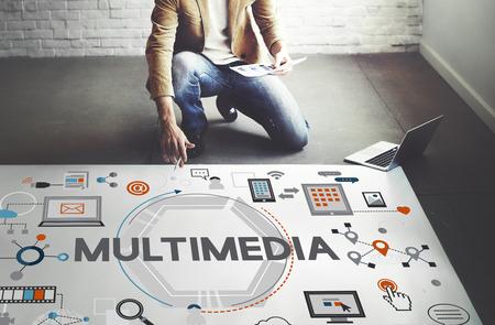 マルチ メディア技術コンテンツ創造的なデジタル コンセプト 写真素材