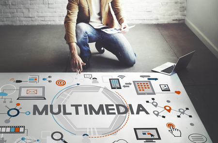 computer animation: Multimedia Technology Content Creative Digital Concept