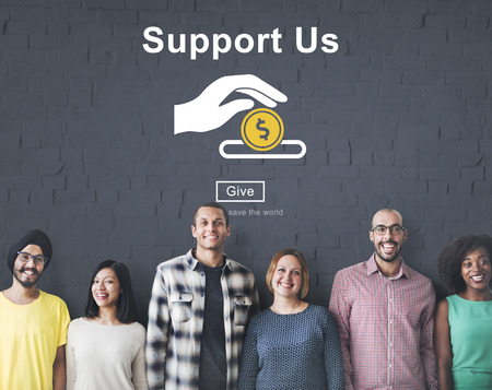 us money: Support us Money Volunteer Donations Concept Stock Photo