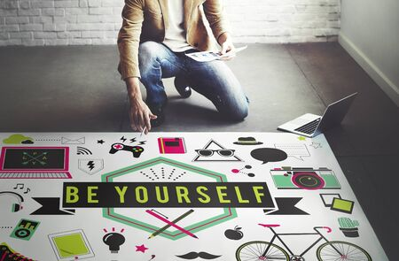 be: Be Yourself Self Esteem Confidence Encourage Motivation Concept