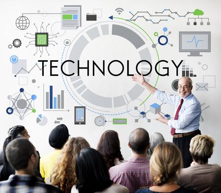 net meeting: Tehnology Tech Digital Evolution Internet Data Concept Stock Photo