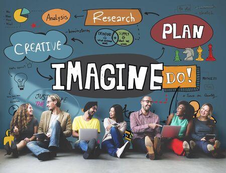 imaginacion: Imag�nese imaginaci�n esperar bosquejo creativo Concepto Foto de archivo
