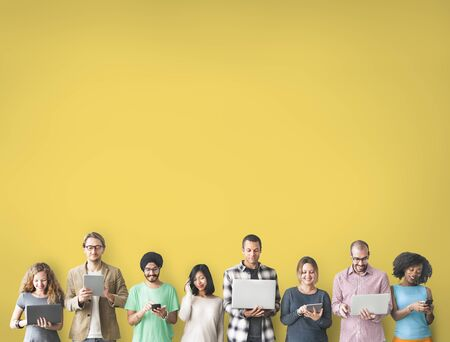 online: Group of People Connection Digital Device Concept Stock Photo