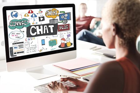 african descent: Chat Communication Social Networking Connection Concept Stock Photo